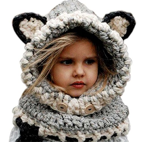 Jenny Shop Winter Adult Women Warm Fox Animal Hats Knitted Coif Hood Scarf Beanies for Autumn Winter (Grey, Adult)