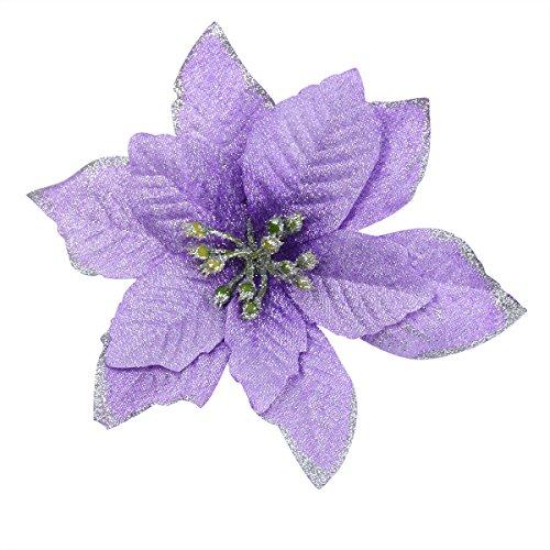 6Pcs 5 Inch Glitter Artificial Flowers For Wedding Christmas Festival Decor Ornament Purple