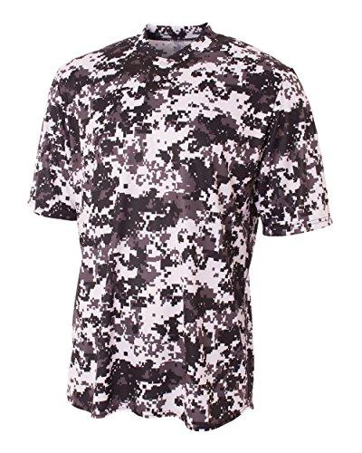 (A4 Sportswear White Adult XL CAMO 2-Button Moisture Wicking Crewneck Jersey Henley)
