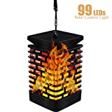 Solar Flame Hanging Lantern Lights Outdoor Solar Lanterns Light IP55 Waterproof with 99 Bright LEDs Dancing Flicking Effect for Garden Lantern Patio Umbrella Lamp Tree Pool Pavilion Lawn Porch Decor
