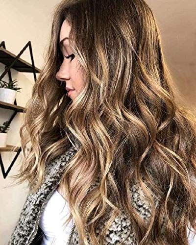Mosoo 14 Inch Clip in/on Toupee Piece Balayage Color #4 Brown with #27 Blonde Hand Made Tied Hair Topper Mono Base Hair Piece for Hair Loss/Thin Hair 1.5x5 Inch Clip on Hair Piece (27 Piece With Curly Hair On Top)