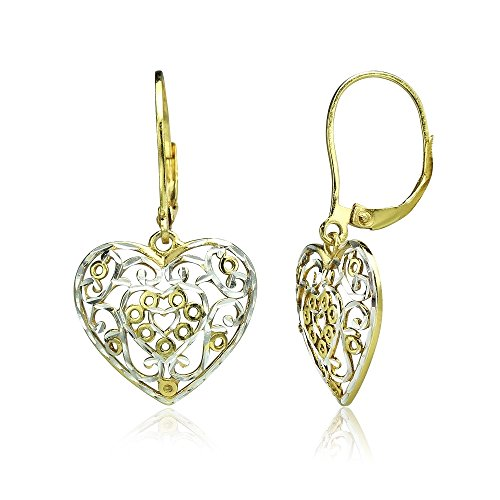 Yellow Gold Flashed Sterling Silver Two-Tone Diamond-cut Filigree Heart Dangle Leverback Earrings