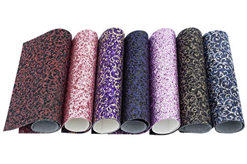 Meneng Vintage Style Flower Pattern Chunky Glitter Sequins Fabric Faux Leather Sheets, Assorted Colors DIY Shiny Craft Leather,7 Pieces 9''x13'' (Vintage Style) ()