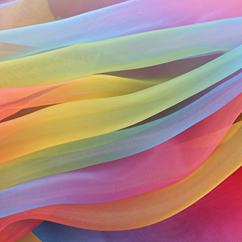 BBTO 16 Feet by 54 Inch Rainbow Organza Multicolored Voile Dress Fabric Fancy Costumes Decorations by BBTO (Image #1)