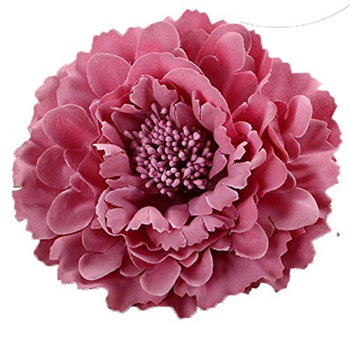 Floral Fall Peony Flower Hair Clip Flamenco Dancer Pin up Flower Brooch HC-01 (Rose Pink)