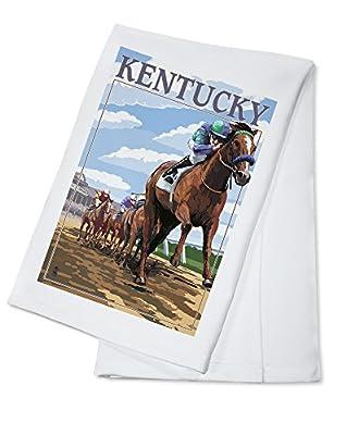 Kentucky - Horse Racing Track Scene (100% Cotton Absorbent Kitchen Towel)