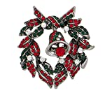DennyBlaine & Co. Holiday Christmas Brooch Oxidized Estate Finish (Christmas Wreath with Bell Silver Tone)