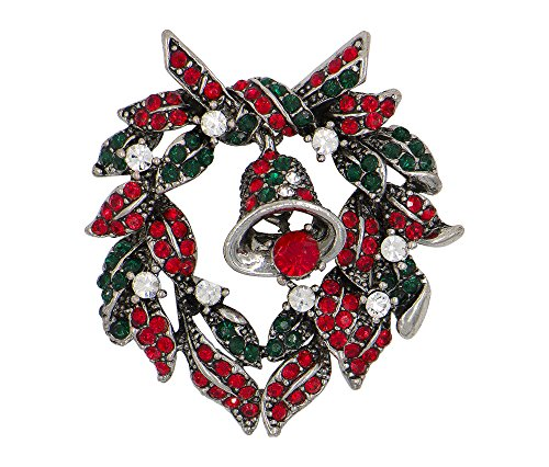 liday Christmas Brooch Oxidized Estate Finish (Christmas Wreath with Bell Silver Tone) ()
