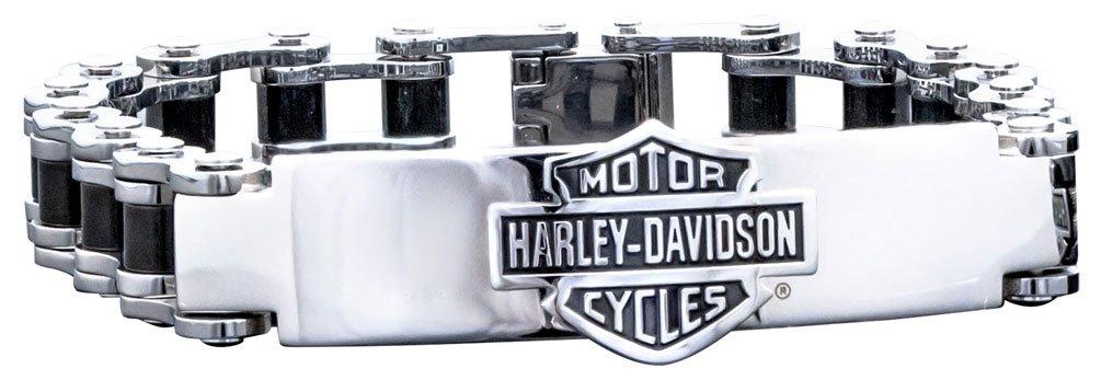 Harley-Davidson Men's Bike Chain ID Bracelet, Stainless Steel HSB0071-7.5