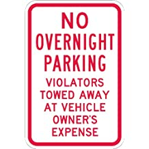 """SmartSign 3M Engineer Grade Reflective Sign, Legend """"No Overnight Parking Violators Towed Away"""", 18"""" High X 12"""" Wide, Red on White"""