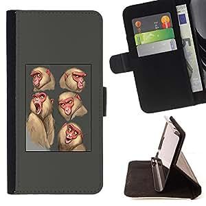 BullDog Case - FOR/Sony Xperia Z1 Compact D5503 / - / ape monkey sketch drawing grey animal /- Monedero de cuero de la PU Llevar cubierta de la caja con el ID Credit Card Slots Flip funda de cuer