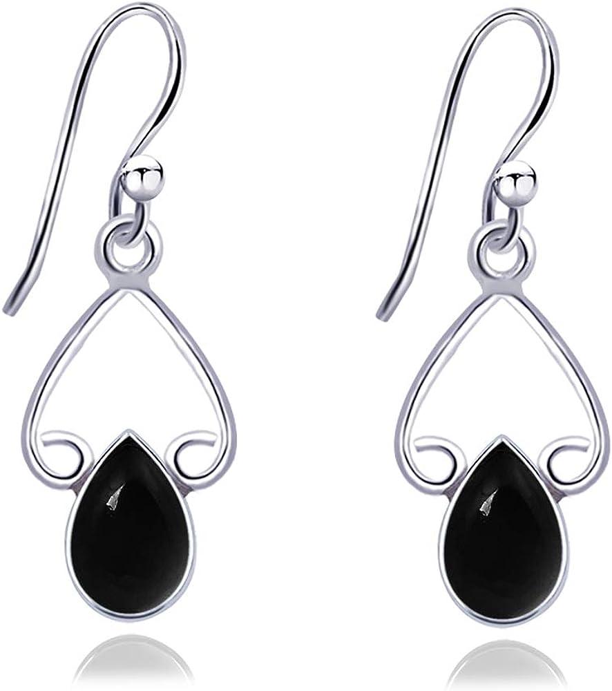 Orchid Jewelry 2.31 ctw Pera Negro Ónix Negro Bisel | Pendientes de plata de ley 925 | Bonito y sencillo regalo de compromiso sin níquel para mujer.
