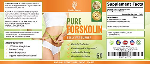 Forskolin For Weight Loss, Pure Extract, With Active Fat Burner For Hunger-Free Dieting