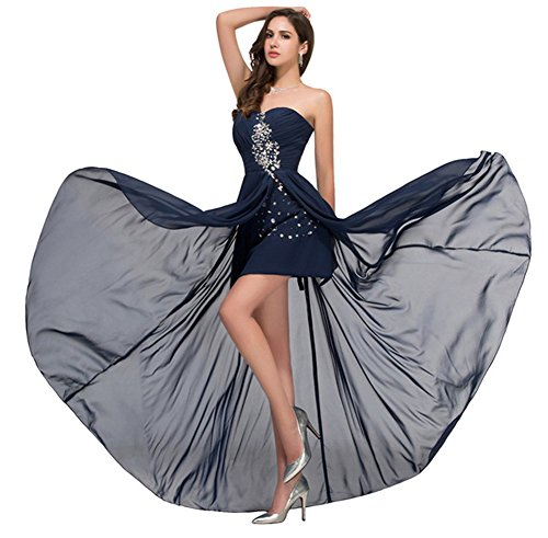 Prom Blue Dresses Drasawee Navy Strapless Party Cocktail Rhinestones Short Women's 4yqRgZzqST