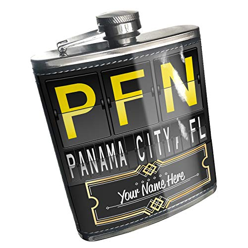 Neonblond Flask PFN Airport Code for Panama City, FL Custom Name Stainless -