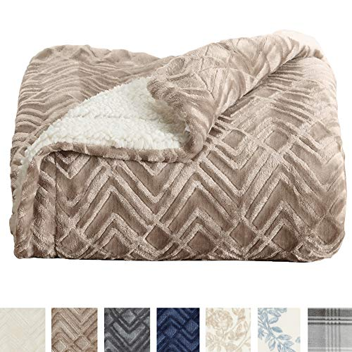Home Fashion Designs Premium Reversible Sherpa and Sculpted Velvet Plush Luxury Blanket. Fuzzy, Soft, Warm Berber Fleece Bed Blanket Brand. (Full/Queen, Taupe)