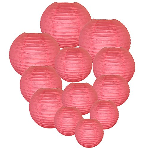 Just Artifacts Decorative Round Chinese Paper Lanterns 12pcs Assorted Sizes (Color: Hot Pink) (Outdoor Paper)