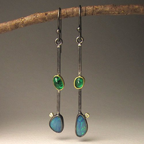 Australian Boulder Opal, Emerald and Diamond Earrings (Boulder Opal Earrings)