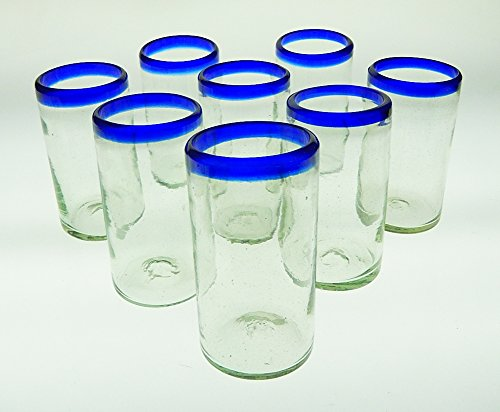 Mexican Glass Blue Rim Tumblers Set of 8, 20 Oz.