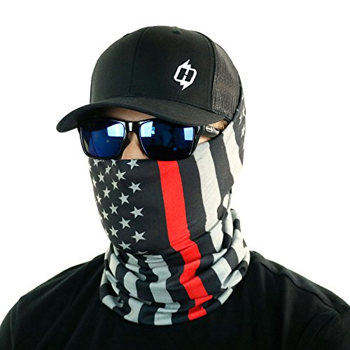Thin Blue Line & Thin Red Line American Flag Bandana by Hoo-rag - Seamless UV Protection (Red) -
