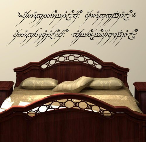Price comparison product image LightningSigns Lord Of The Rings Wall Art Decal Sticker One Ring To Rule Them All Elvish LOTR (Medium 27.5cm ( H ) x 96cm ( W)) - Matt Black