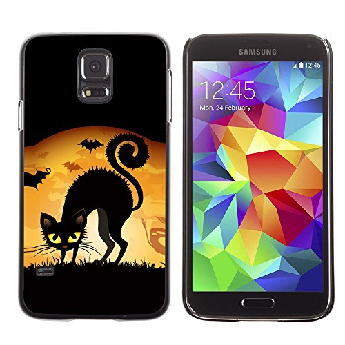 amsung Galaxy S5 black cat halloween yellow eyes witch art drawing / Slim Black Plastic Case Cover Shell Armor