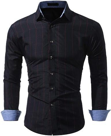 HX fashion Camisa De Rayas De Hombre Camisa De Solapa Polos ...