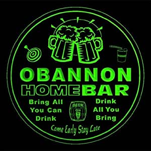 4x ccq32945-g OBANNON Family Name Home Bar Pub Beer Club Gift 3D Engraved Coasters