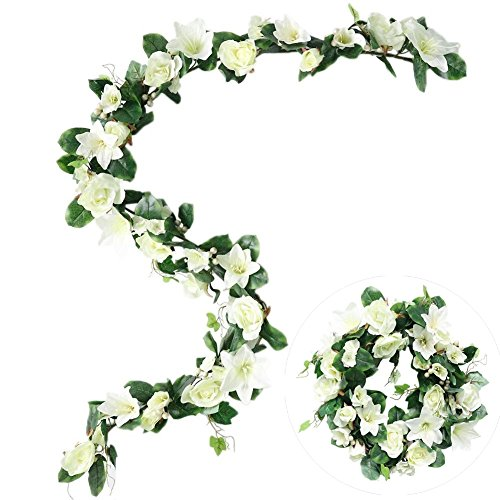M-ELEGANT Artificial Wreath 6Ft Silk Ivy Wreath Fake Lily Flowers Rose Garland for Front Door Spring Summer Flowers Wreath, White