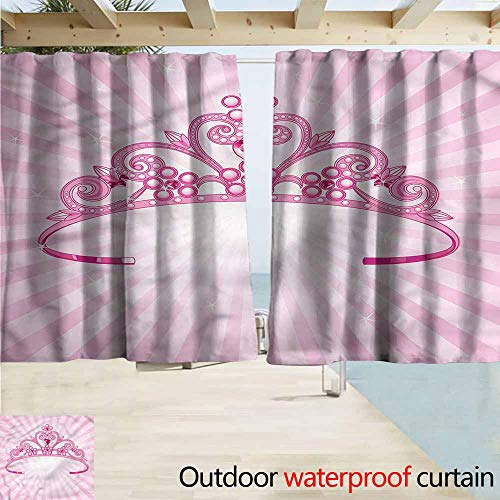 - Indoor/Outdoor Print Window Curtain Kids Pink Fairy Princess with Crown Rod Pocket Curtain Panels W72x63L Inches