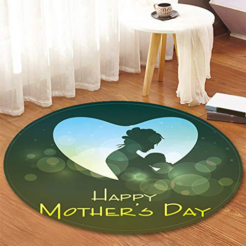 Mother's Day Series - Printed Round Flannel Kitchen Anti-Slip Mats Children's Room Carpet Beautifully Decorated Rug,Thanks for Mother by cnnIUHA (Image #3)