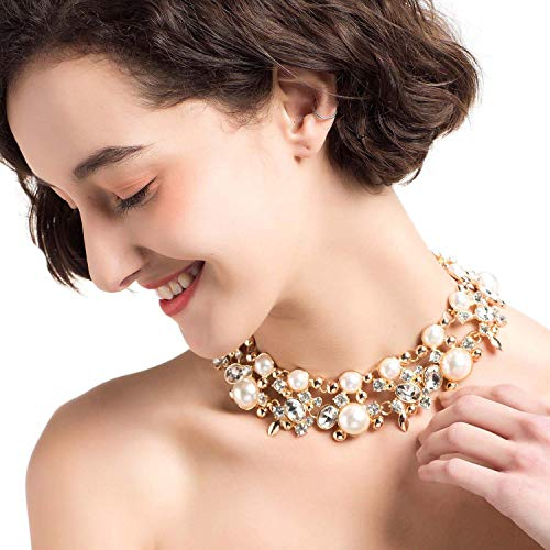 Holylove Statement Necklace for Women Girls, Pearl Necklace Novelty Jewelry White with Gift Box-8058set -