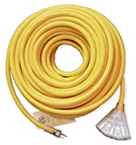 100ft 10 Gauge Heavy Duty Indoor/Outdoor SJTW Lighted Triple Outlet Extension Cord by Watt's Wire - 100' 10/3 Rugged Lighted Grounded Pigtail Power Cord - 10AWG 125Vac 15Amp 1875Watt