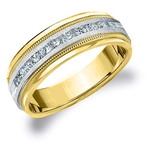 .50CT Heritage Men's Diamond Ring in 14K Two Tone Gold Satin Finish - Finger Size 12.75 (Tone Tiffany Two Ring)