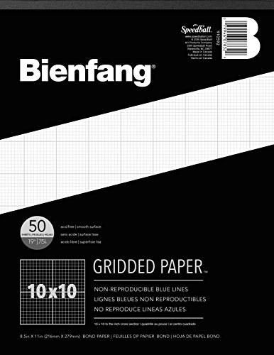 Bienfang 910592 Designer Grid Paper, 50 Sheets, 8-1/2-Inch by 11-Inch Pad, 10 by 10 Cross - Pencil Section Cross