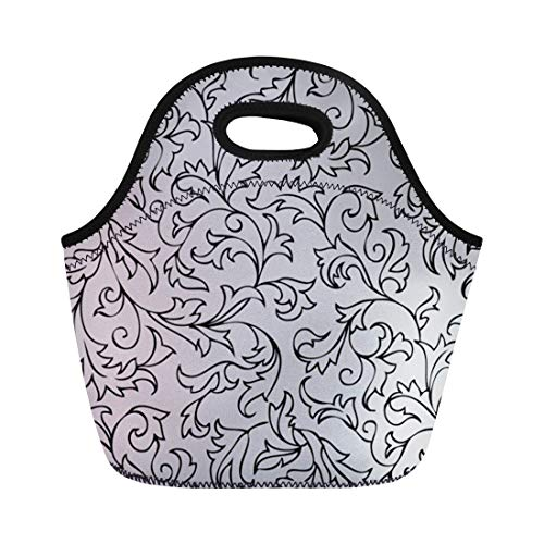 Semtomn Neoprene Lunch Tote Bag Pattern Vintage Floral Gothic Medieval Grey Western Swirl Organic Reusable Cooler Bags Insulated Thermal Picnic Handbag for Travel,School,Outdoors,Work