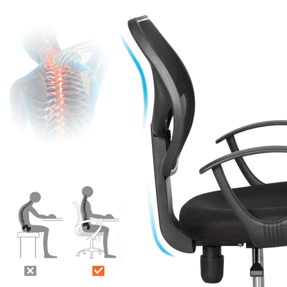 Yaheetech Desk Chiar Office Chair Ergonomic Mid-Back Mesh Computer Chair Height Adjustable with Armrest Swivel Office Chair Lumbar Support Swivel Chair (Black) by Yaheetech (Image #5)