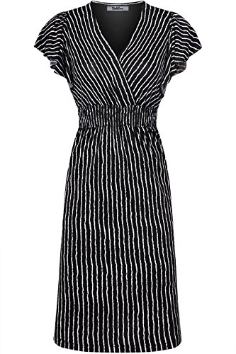 2LUV Women's Ruffle Sleeve Printed Smocked Empire Waist Midi Summer Dress Black L (In Short Empire Black Dress Sleeve)