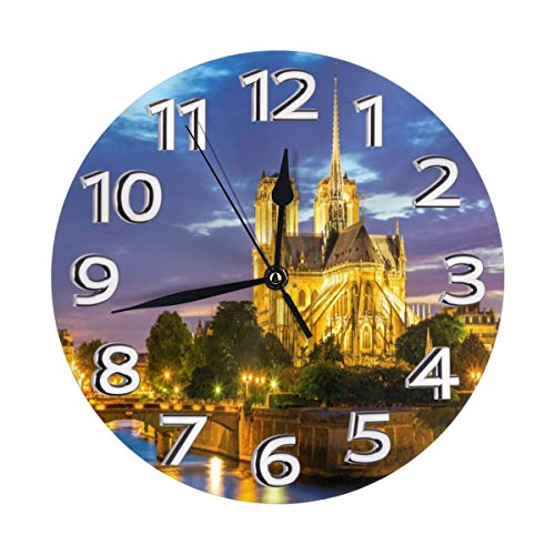 Yanghl Paris Notre Dame Cathedral at Dusk in Paris France Riverside Scenery Lights Reflection Print Round Wall Clock Decorative, 9.8 Inch Silent Non Ticking Home Office School Decorative Clock Art