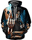 Gludear 3D Printed Unisex Hoodie Novelty Halloween Skull Sweatshirt Pullover Hoodies,L/XL