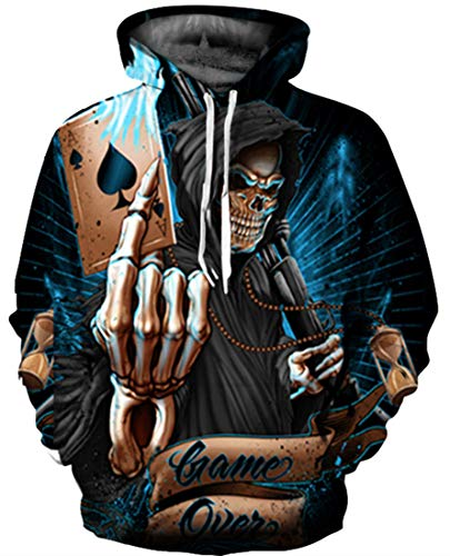 GLUDEAR 3D Printed Unisex Hoodie Novelty Halloween Skull Sweatshirt Pullover Hoodies,S/M -