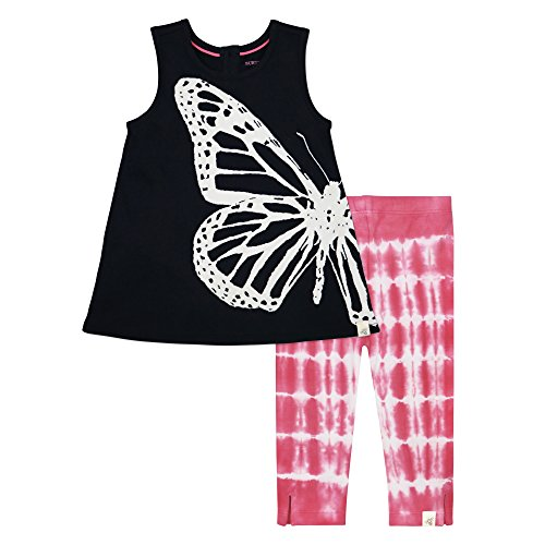 Butterflies Capri Girls Baby Clothes (Burt's Bees Baby Baby Girls' Organic Top and Pants Set, Onyx Legging Set, 6-9 Months)