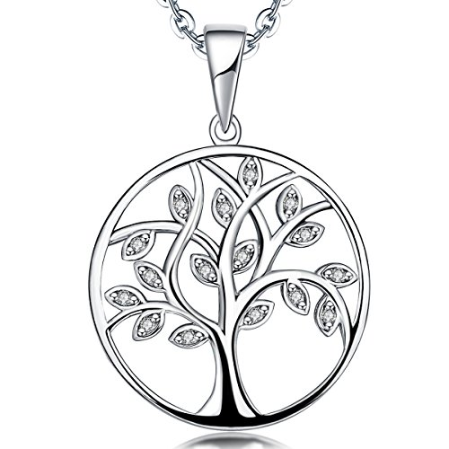 (YL Tree of Life Necklace Sterling Silver Cubic Zirconia Circle Pendant Giving Tree Jewelry)