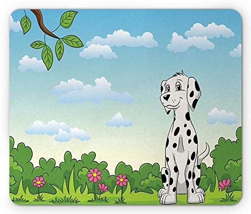 Dalmatian Mouse Pad, Baby Dog at The Park Having Fun in Woods Flower Meadow Tree Animal Kids Cartoon, Standard Size Rectangle Non-Slip Rubber Mousepad, Multicolor (Park Meadows Shops)