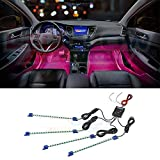 LEDGlow 4pc Pink LED Car Interior Underdash Lighting Kit - Universal Fitment - Music Mode - Auto Illumination Bypass Mode