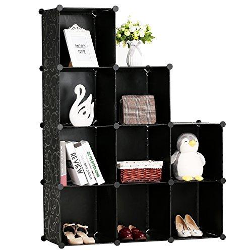 9-Cube Storage Organizer, DIY Modular Plastic Storage Cube 4-Tier Bookcase Shelf Cabinet Closet, Black