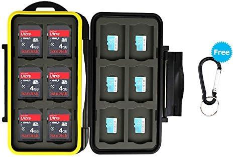 JJC Estuche impermeable para tarjetas de memorias: 12 x tarjetas Micro SD SDHC SDXC + 12 x tarjetas SD SDHC SDXC con mosquetón: Amazon.es: Electrónica