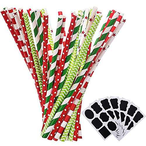 Shappy Paper Straws Decorative Drinking Straws for Christmas New Year Party Decoration, 125 Pieces, Multi Patterns, with 6 Black Stickers (Red and Green)]()