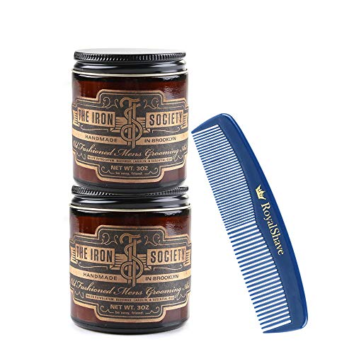 The Iron Society Old Fashioned Men's Grooming Aid Hair Pomade - 2 Pack of Pomades + Comb Set!