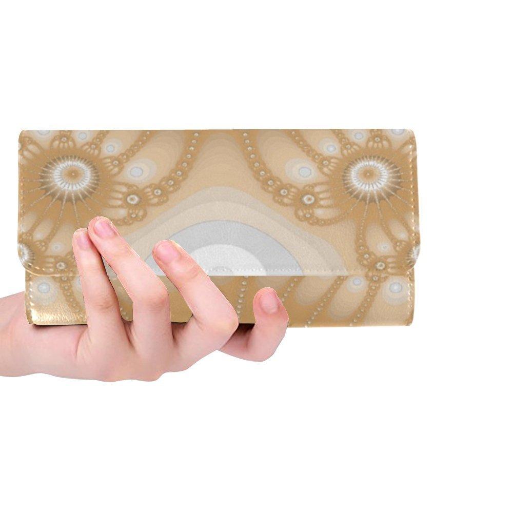 Unique Custom Fractal Brown Women Trifold Wallet Long Purse Credit Card Holder Case Handbag by Jnseff